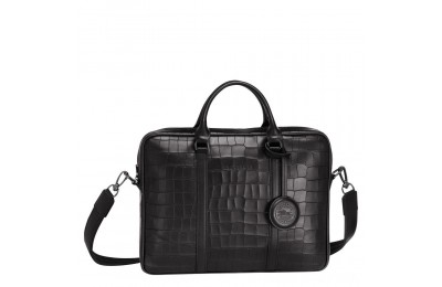 [Soldes] - Croco Block Porte-documents XS - Noir