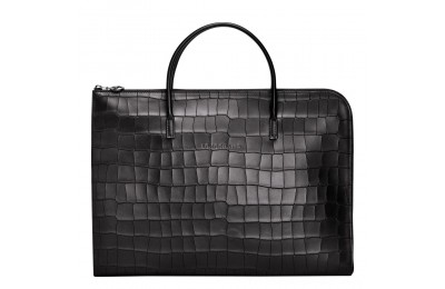 Croco Block Porte-documents - Noir Pas Cher