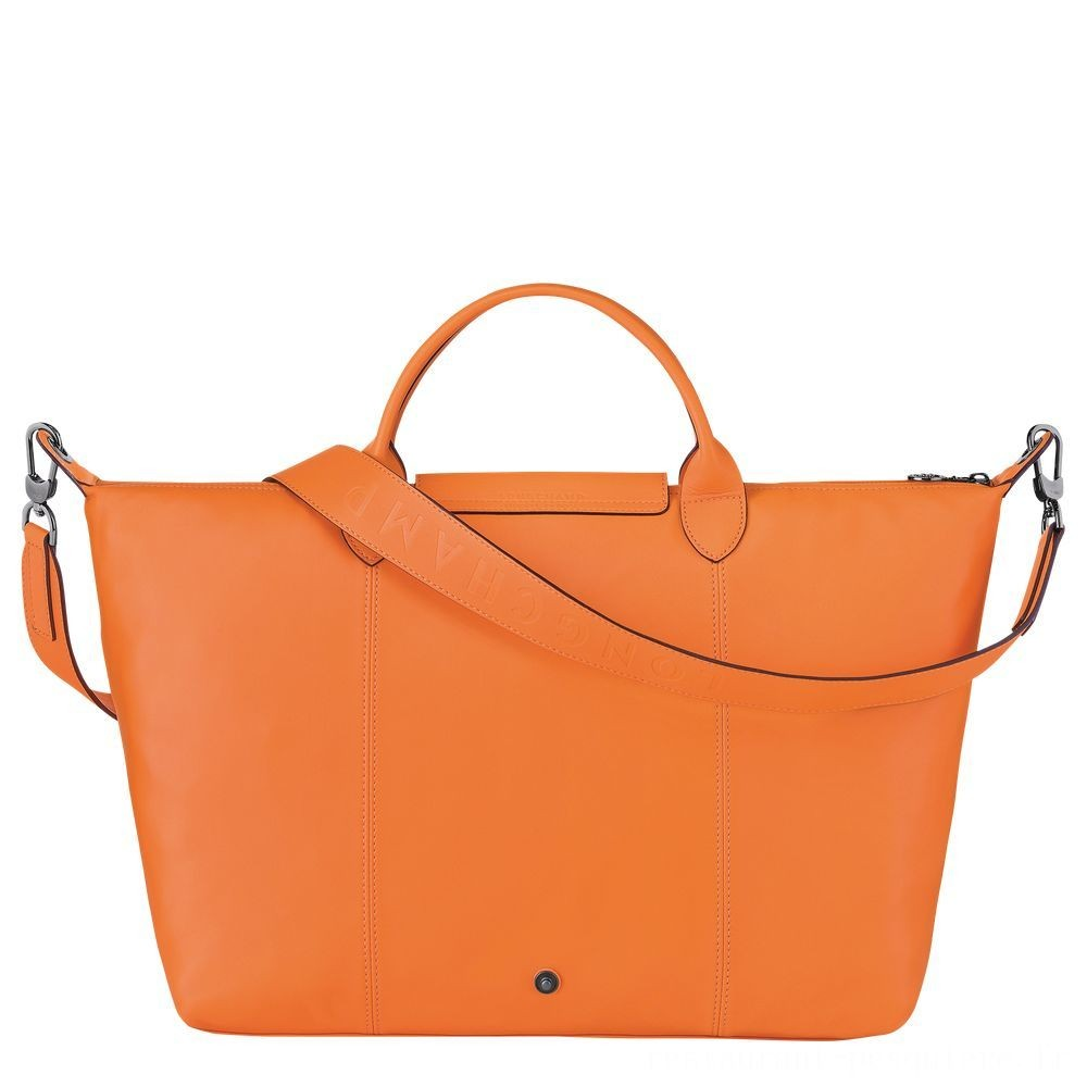[Soldes] - Le Pliage Cuir Sac porté main - Orange
