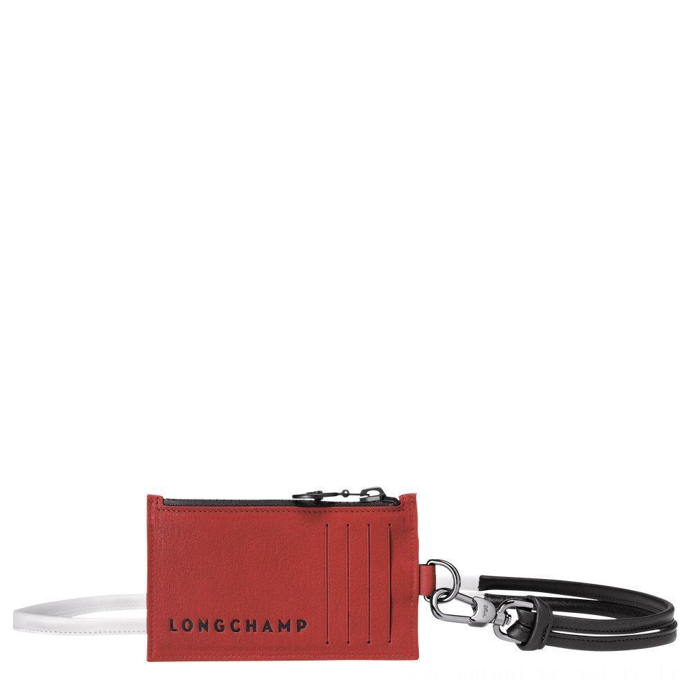 Longchamp 3D Porte-monnaie - Brique Pas Cher