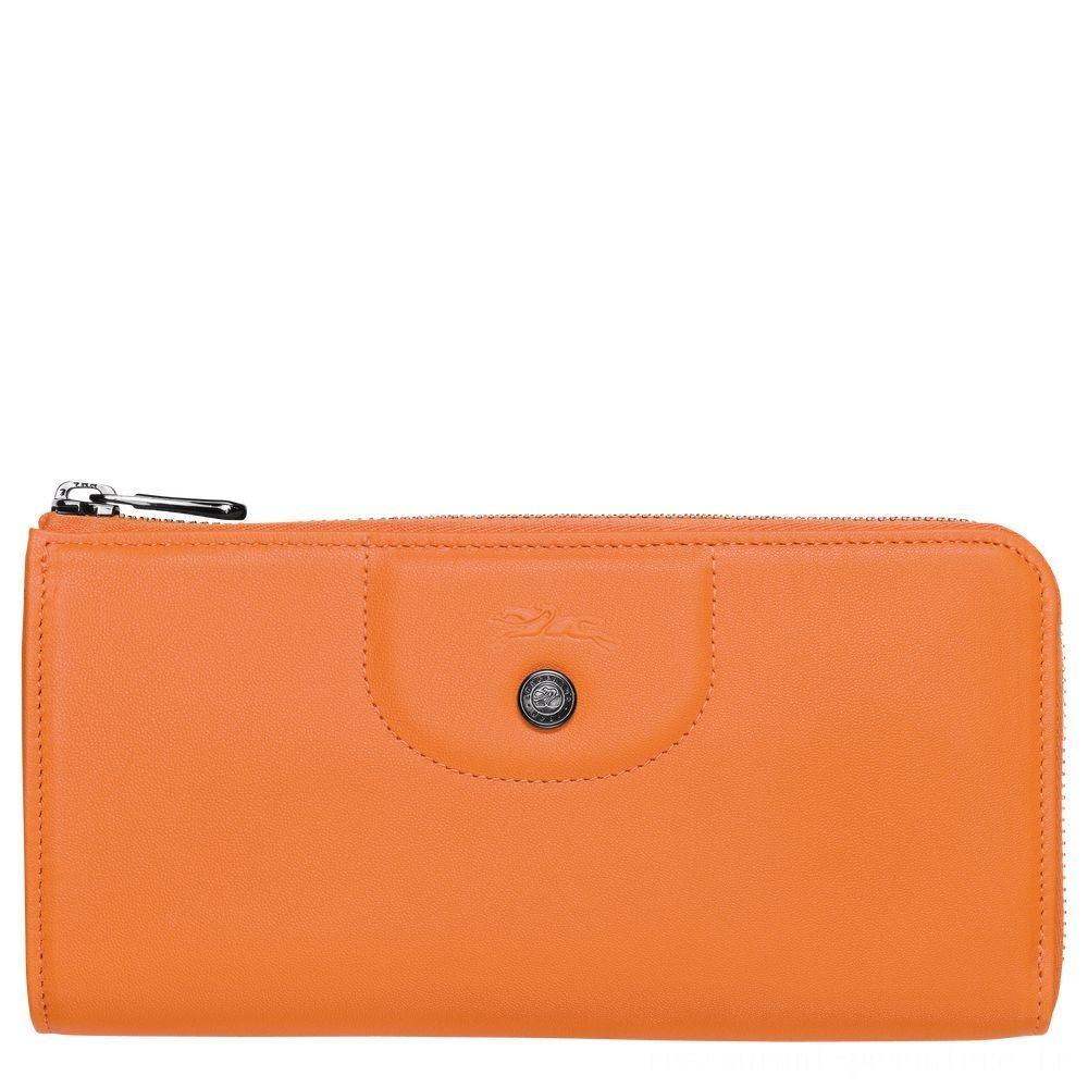 Le Pliage Cuir Portefeuille long zippé - Orange Soldes