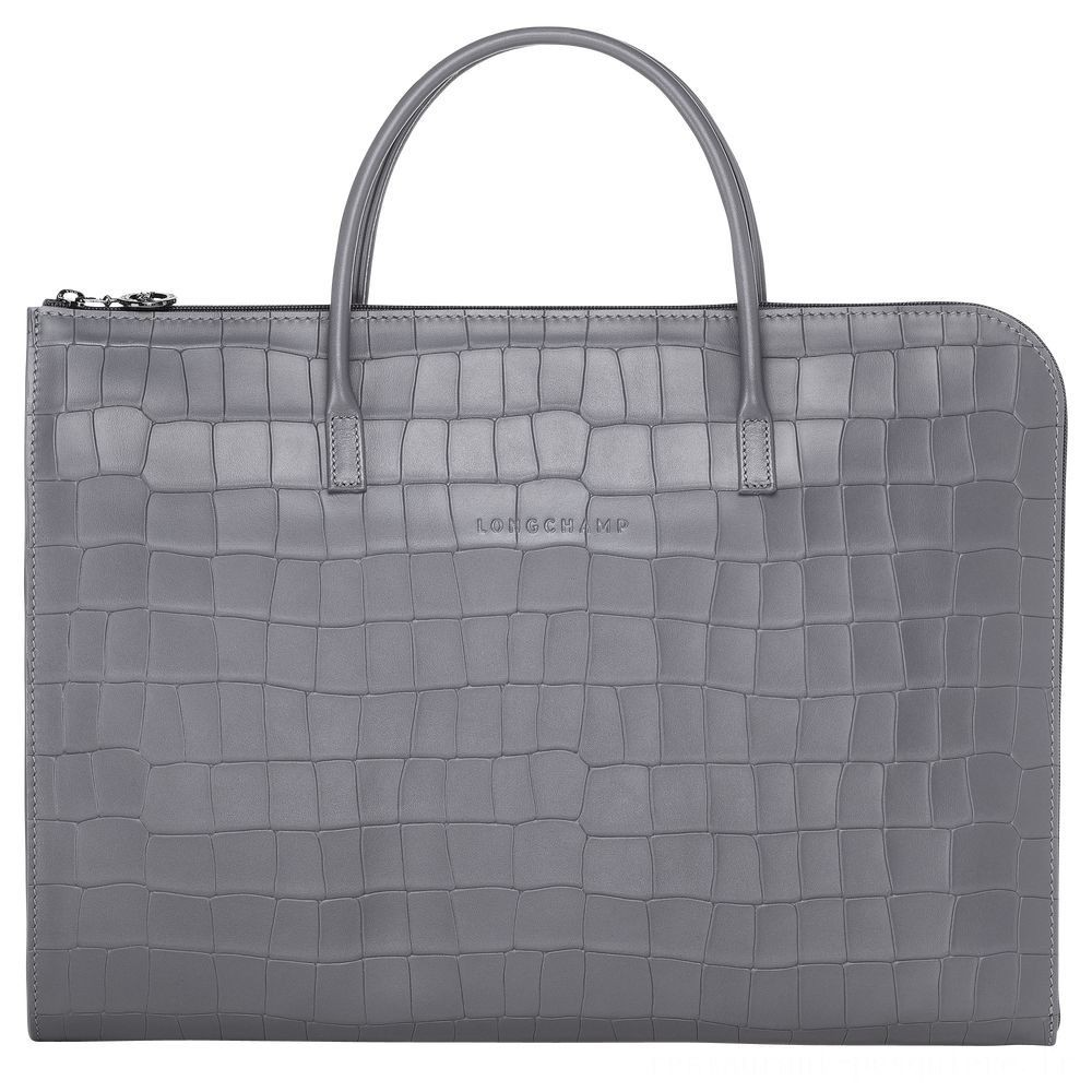 [Soldes] - Croco Block Porte-documents - Gris