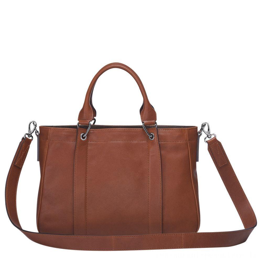 Longchamp 3D Sac porté main - Cognac Pas Cher Jusqu'à -70%