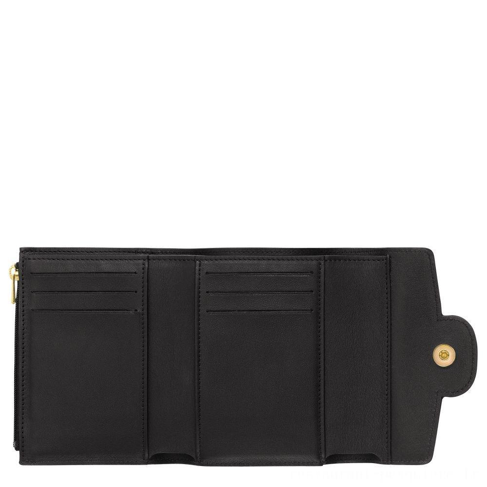 Mademoiselle Longchamp Portefeuille compact - Noir Soldes