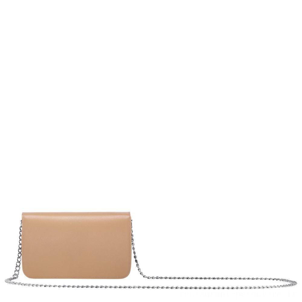 Mademoiselle Longchamp Pochette chainette - Beige Pas Cher