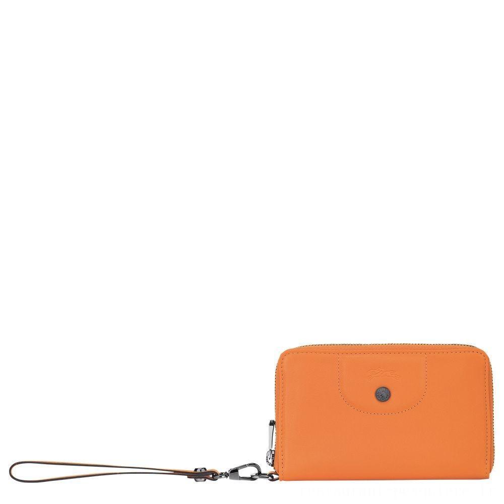 Le Pliage Cuir Portefeuille compact - Orange Soldes
