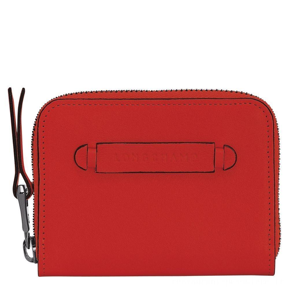 Longchamp 3D Porte-cartes - Vermillon Soldes