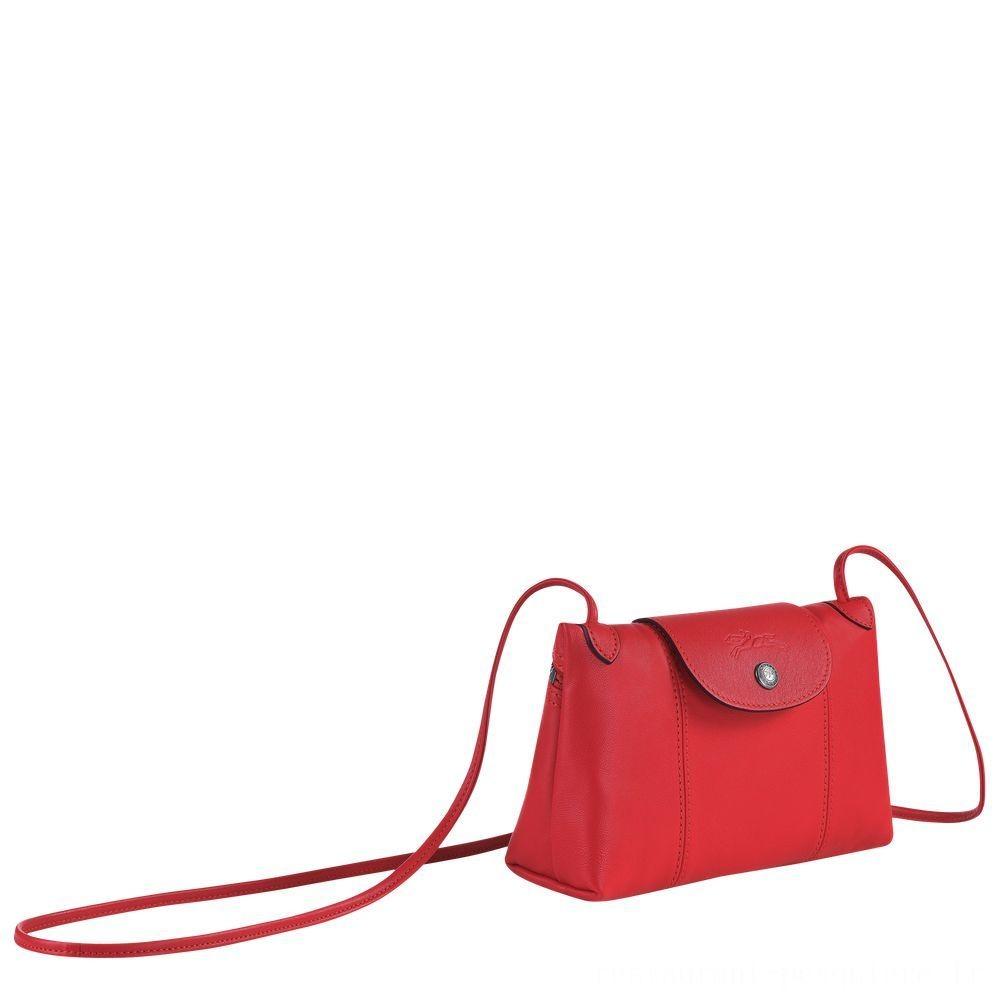 Le Pliage Cuir Sac porté travers - Rouge Pas Cher