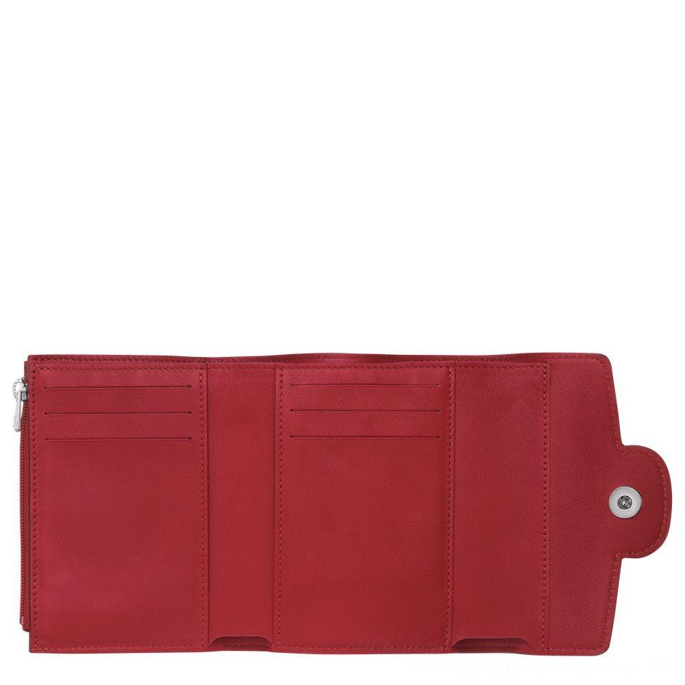 [Soldes] - Mademoiselle Longchamp Portefeuille compact - Grenat