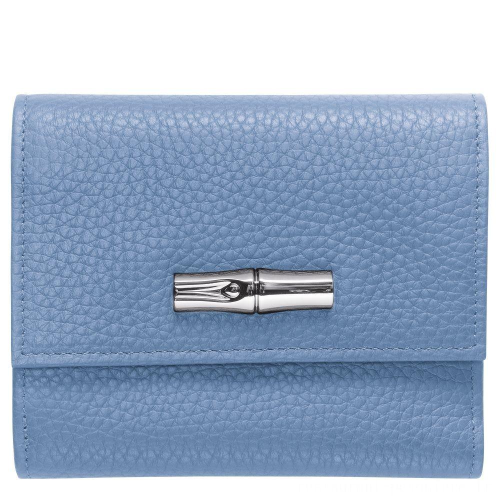 Roseau Portefeuille compact - Bleu Pas Cher