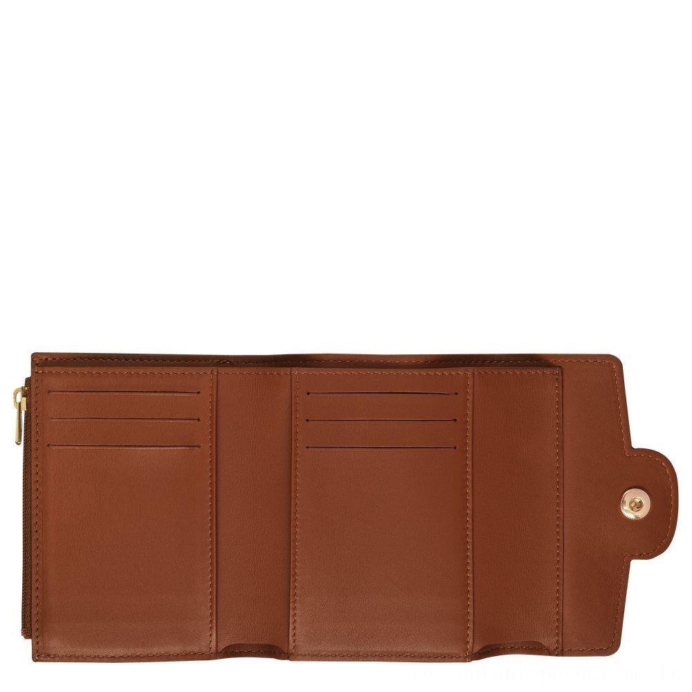 [Vente] - Mademoiselle Longchamp Portefeuille compact - Cognac