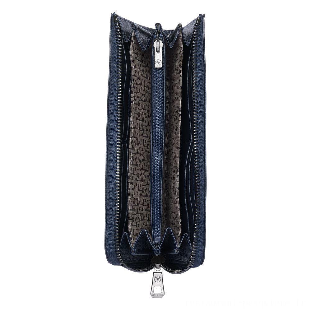 Le Pliage Cuir Portefeuille long zippé - Navy Soldes