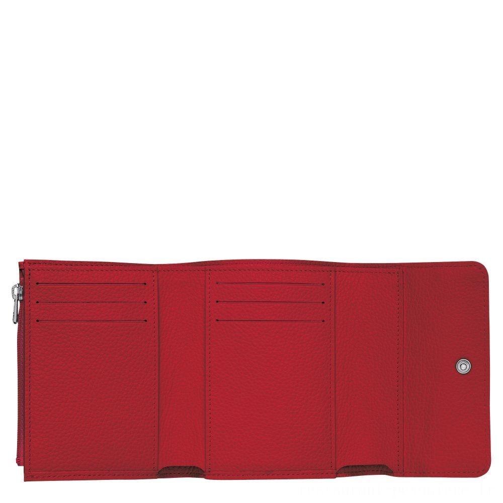 Le Foulonné Portefeuille compact - Rouge Soldes