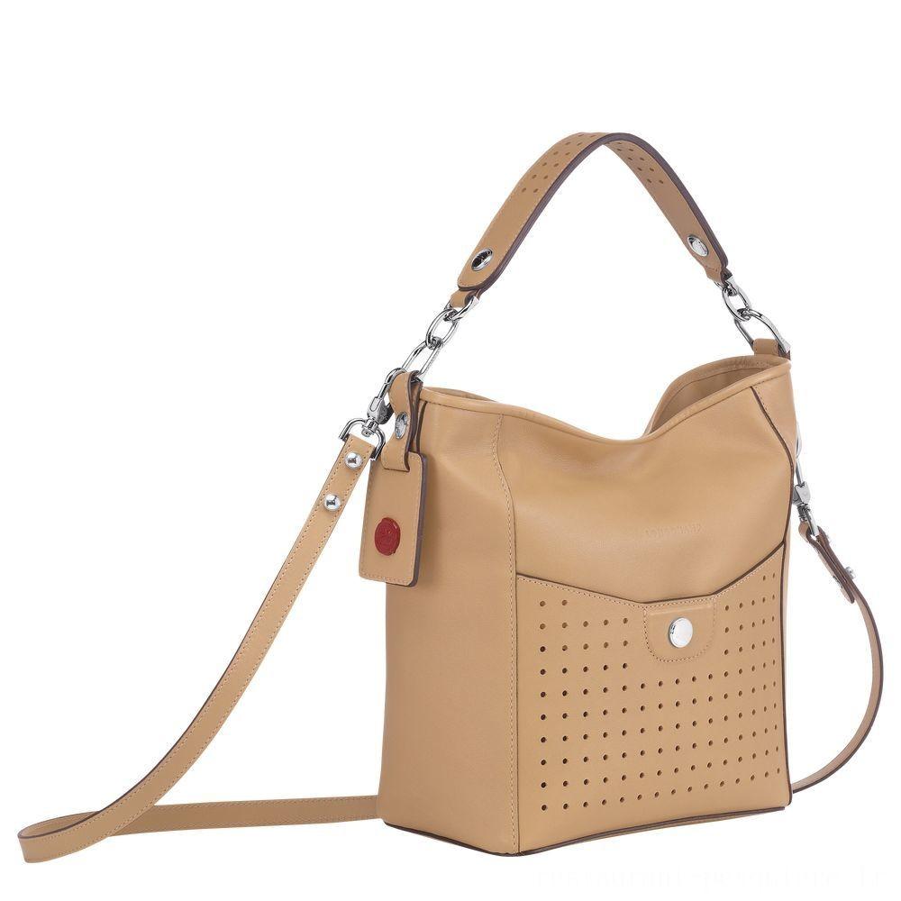 Mademoiselle Longchamp Petit sac seau - Beige Pas Cher