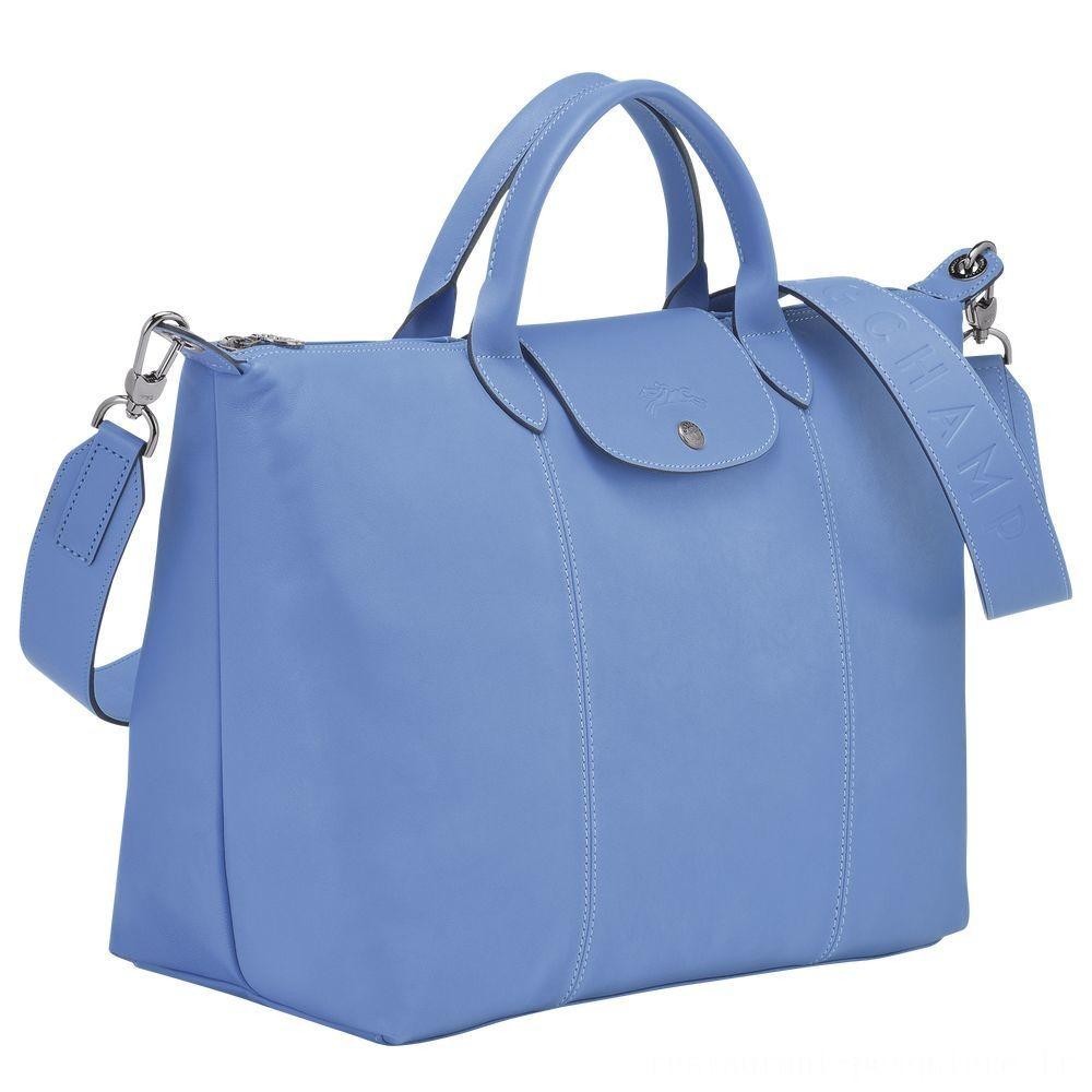 Le Pliage Cuir Sac porté main - Bleu Soldes