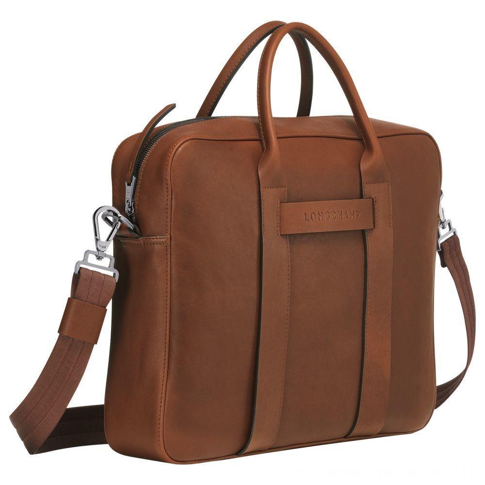 [Soldes] - Longchamp 3D Porte-documents - Cognac