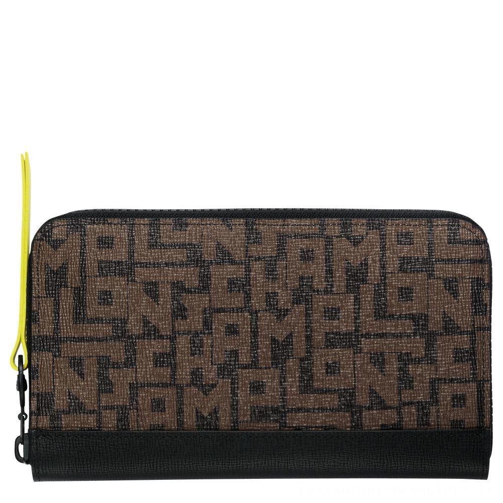 [Vente] - Le Pliage LGP Portefeuille long zippé - Noir/Kaki