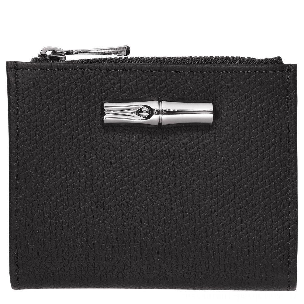 Roseau Portefeuille compact - Noir Pas Cher