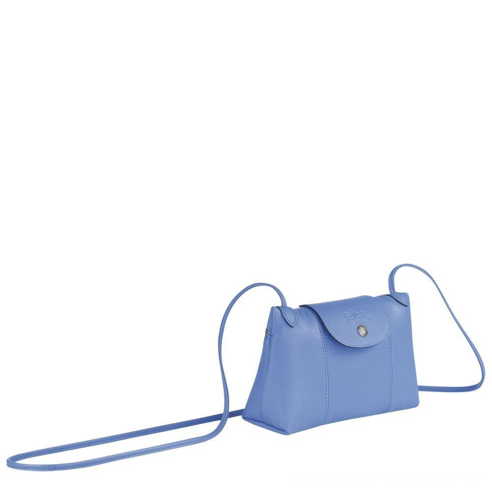 Le Pliage Cuir Sac porté travers - Bleu Soldes