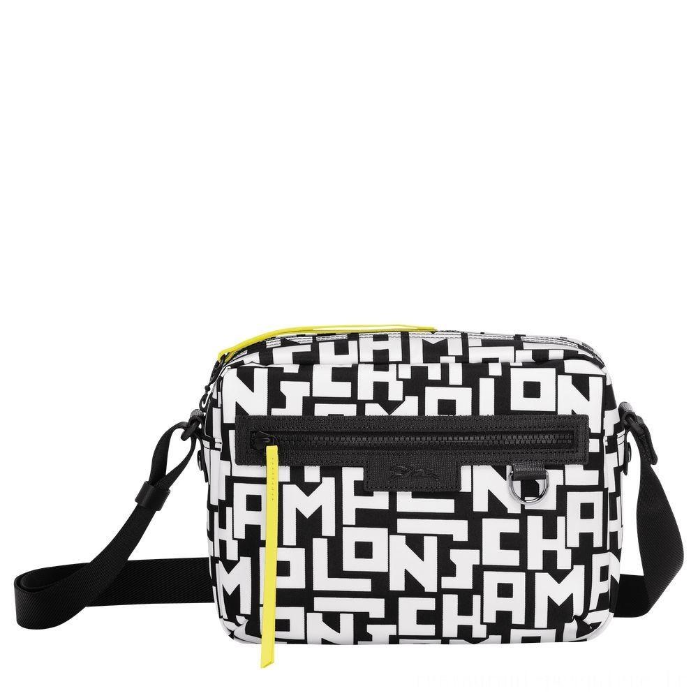 Le Pliage LGPCamera bag M - Noir/Blanc Pas Cher