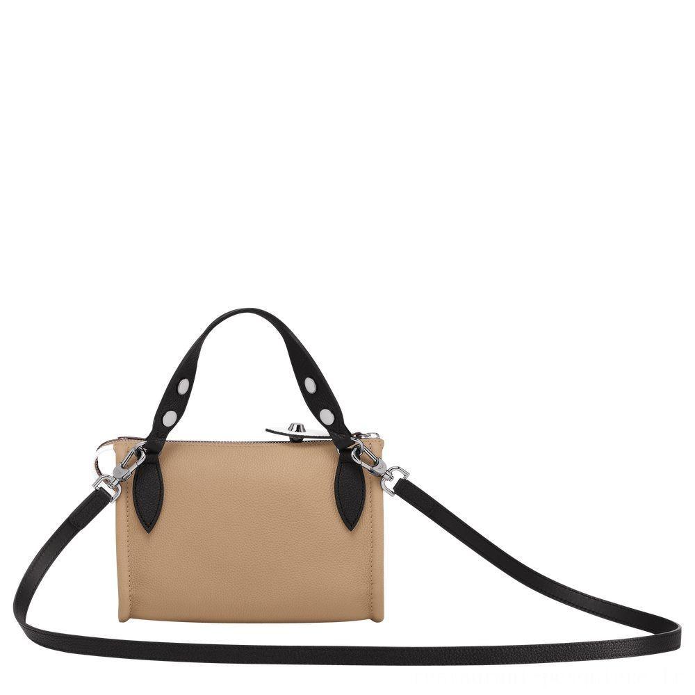 La Voyageuse Longchamp Sac porté travers - Naturel/Noir/Blanc Pas Cher