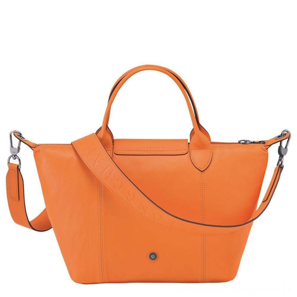 Le Pliage Cuir Sac porté main - Orange Pas Cher