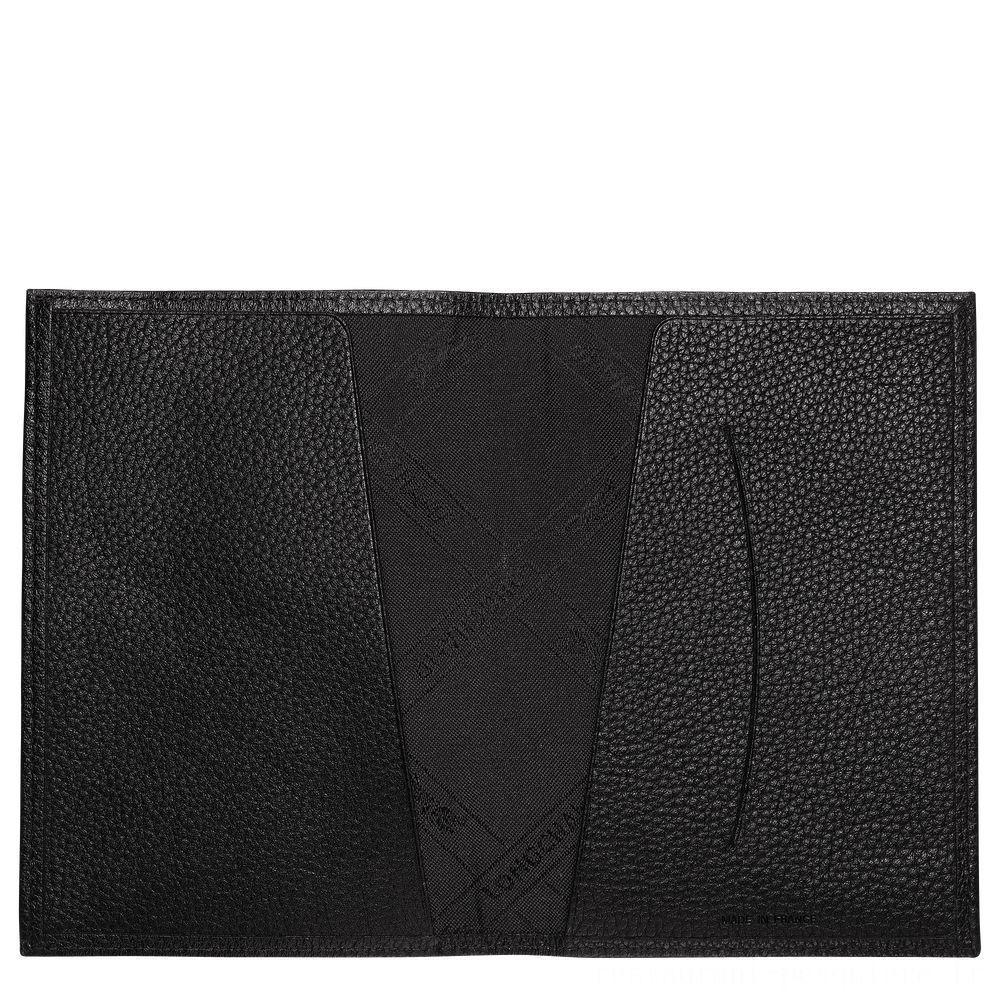 Le Foulonné Étui passeport - Noir Soldes