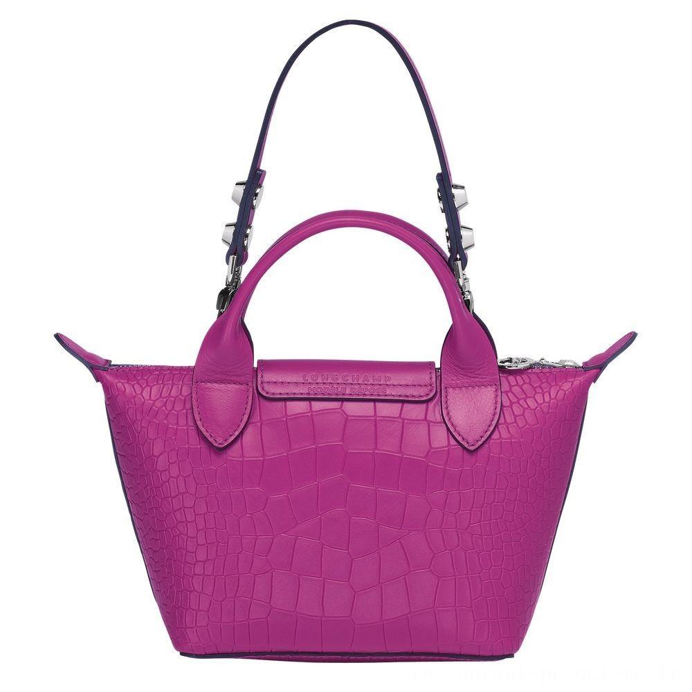 Le Mini Pliage Cuir Mini sac porté main - Fuchsia Pas Cher